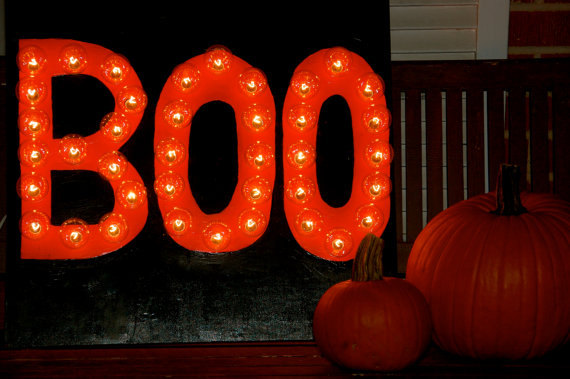 Custom BOO Lighted Sign for Halloween - Indoor/Outdoor Lighted Signs